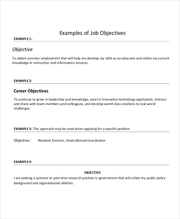 sample resume objectives pdf free premium templates career objective for examples of job Resume Career Objective For Resume
