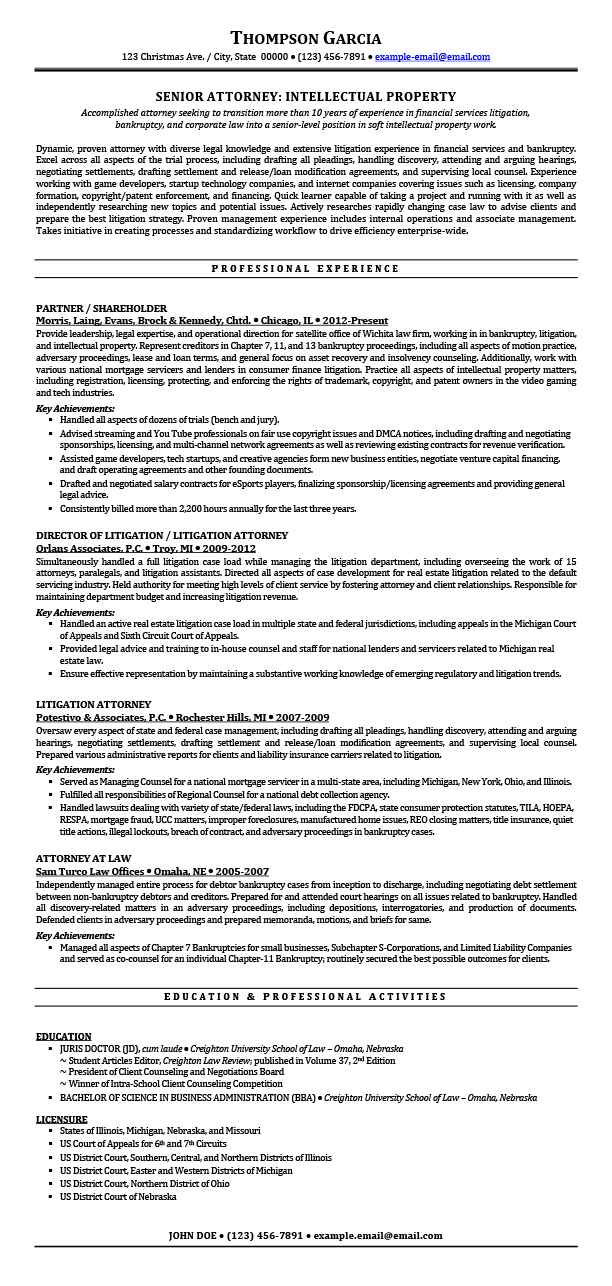 sample resumes for attorney legal law students experienced attorneys litigation resume ip Resume Litigation Attorney Resume Sample