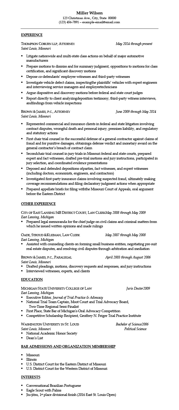 sample resumes for attorney legal law students experienced attorneys litigation resume Resume Litigation Attorney Resume Sample