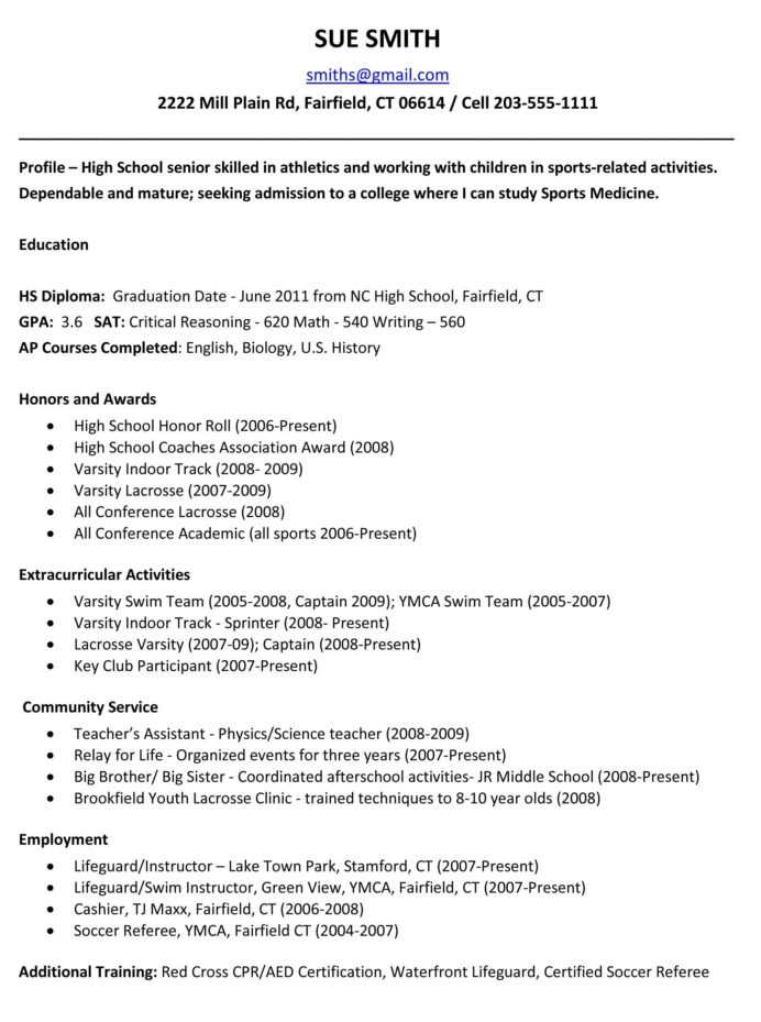 sample resumes high school resume template college application graduate for outline word Resume High School Graduate Resume For College