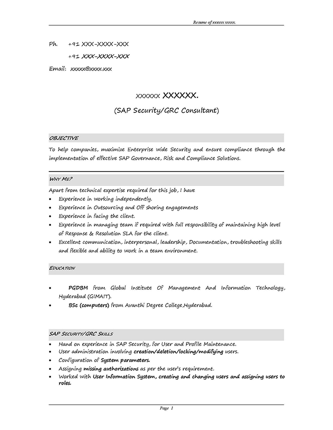 sap grc sample resumes security administrator resume objective data analyst format for Resume Sap Security Administrator Resume
