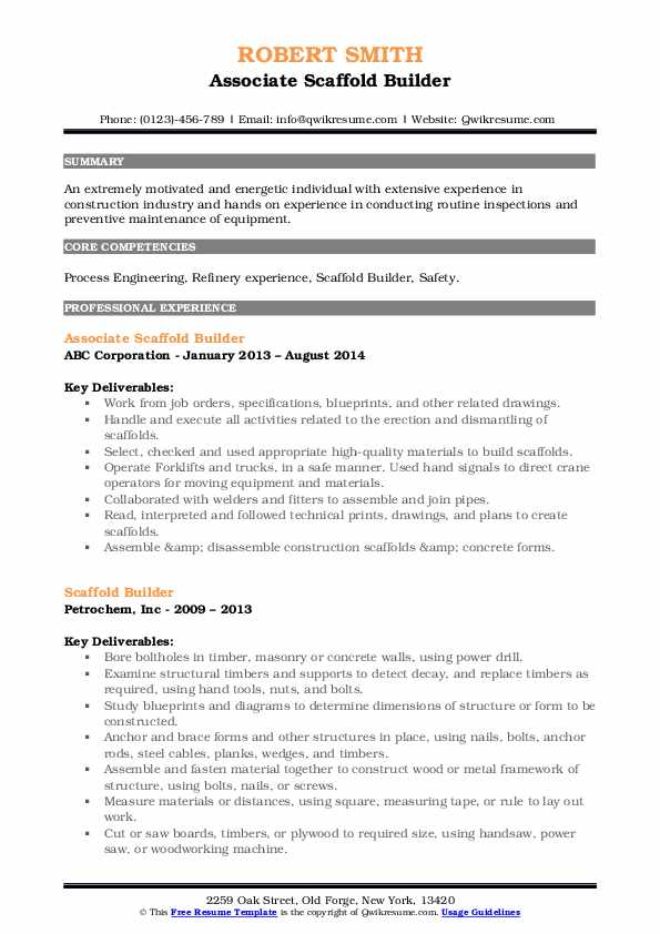 scaffold builder resume samples qwikresume scaffolding inspector pdf template the muse Resume Scaffolding Inspector Resume
