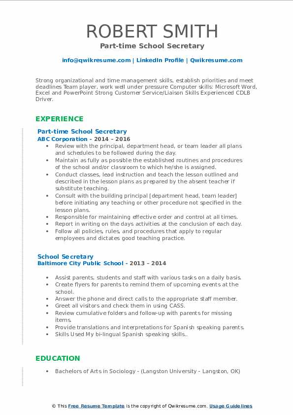 school secretary resume samples qwikresume sample for position pdf cleaning services call Resume Sample Resume For School Secretary Position