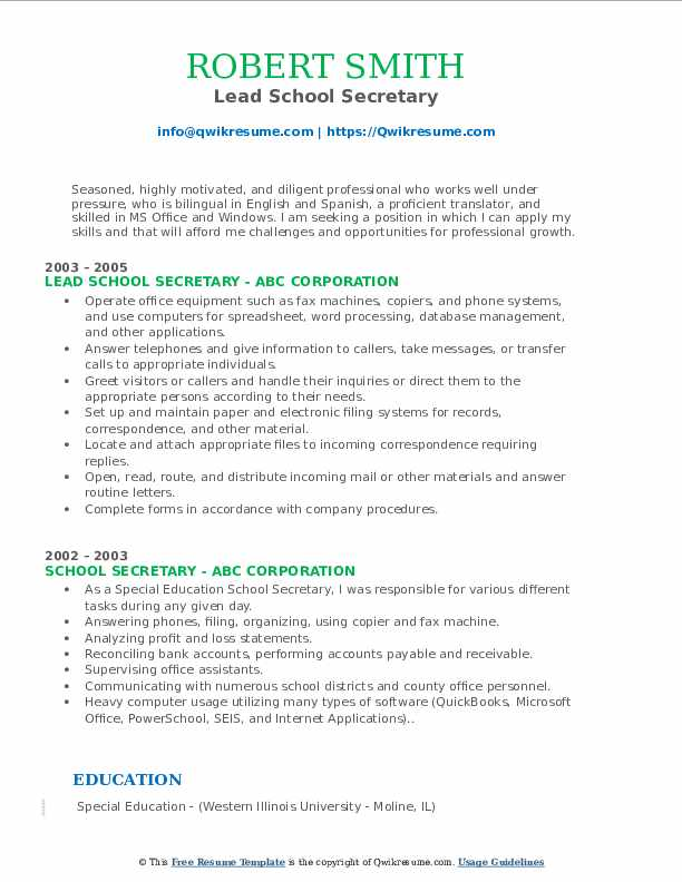 school secretary resume samples qwikresume sample for position pdf independent consultant Resume Sample Resume For School Secretary Position