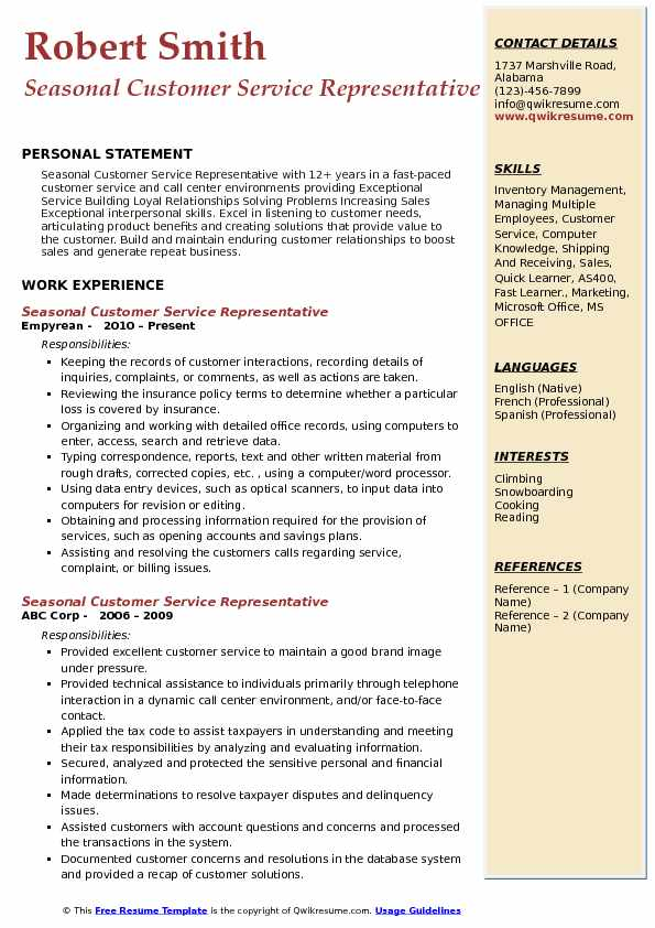 seasonal customer service representative resume samples qwikresume for work pdf social Resume Resume For Seasonal Work