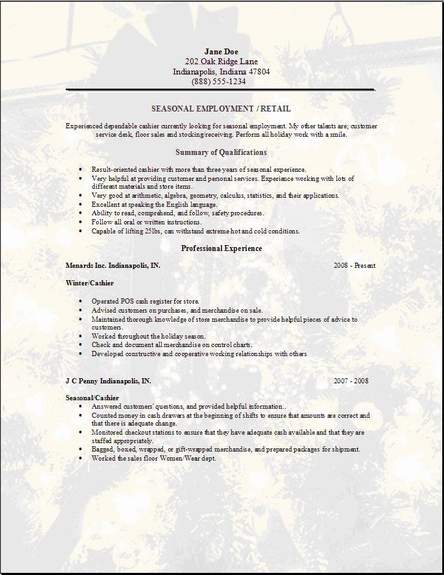 seasonal employment resume occupational examples samples free edit with word for work Resume Resume For Seasonal Work