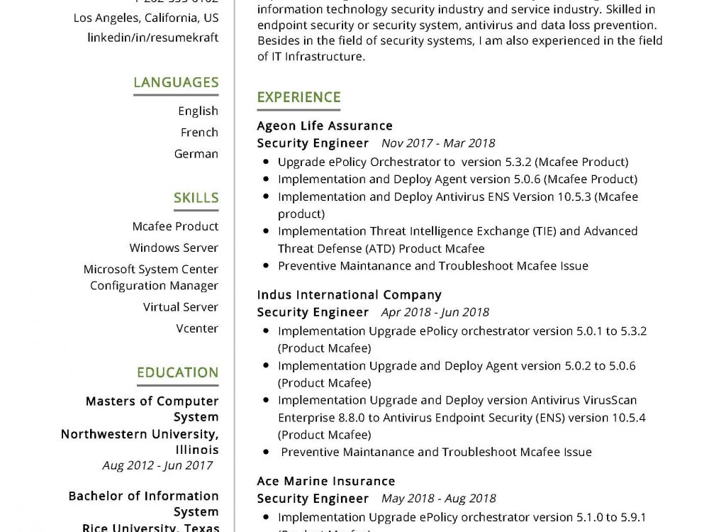 security engineer it resume sample writing tips resumekraft endpoint 1000x750 masters Resume Endpoint Security Engineer Resume