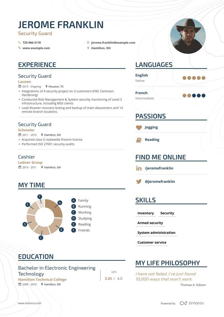 security guard resume samples and writing guide for enhancv beginners mover fillable Resume Security Guard Resume For Beginners