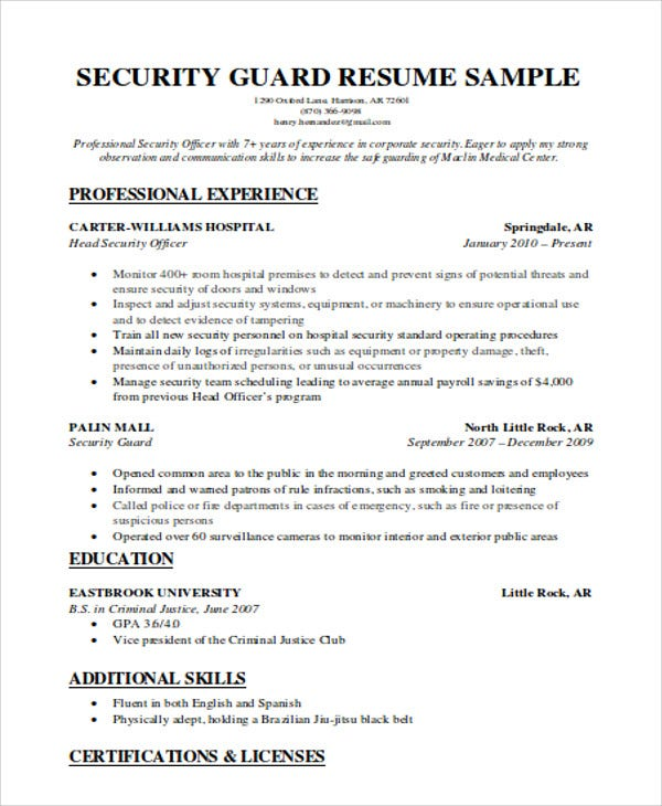 security guard resumes free word pdf format premium templates resume for beginners Resume Security Guard Resume For Beginners