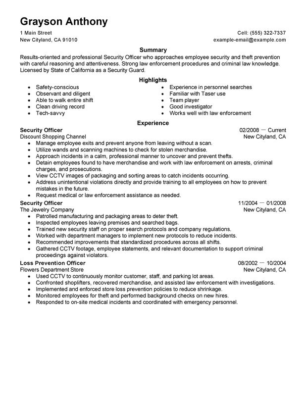 security officers resume examples free to try today myperfectresume guard for beginners Resume Security Guard Resume For Beginners