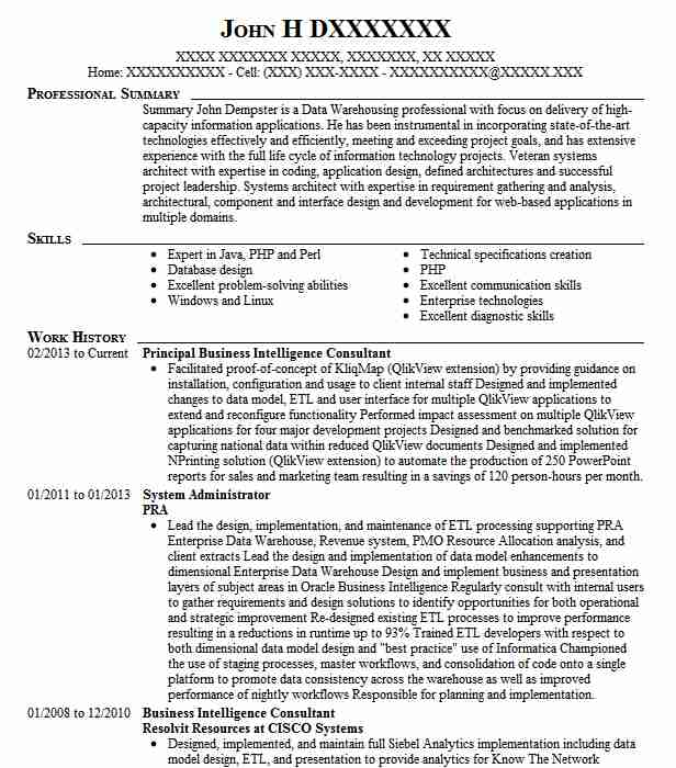 senior business intelligence consultant resume example capital one financial oracle Resume Oracle Business Intelligence Resume