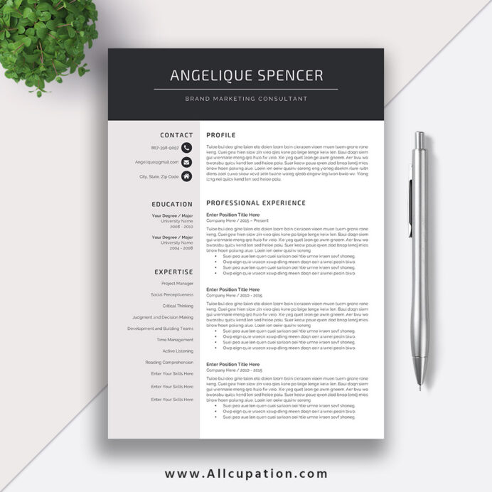 simple resume template modern curriculum vitae cv design best professional instant Resume Good Professional Resume Template