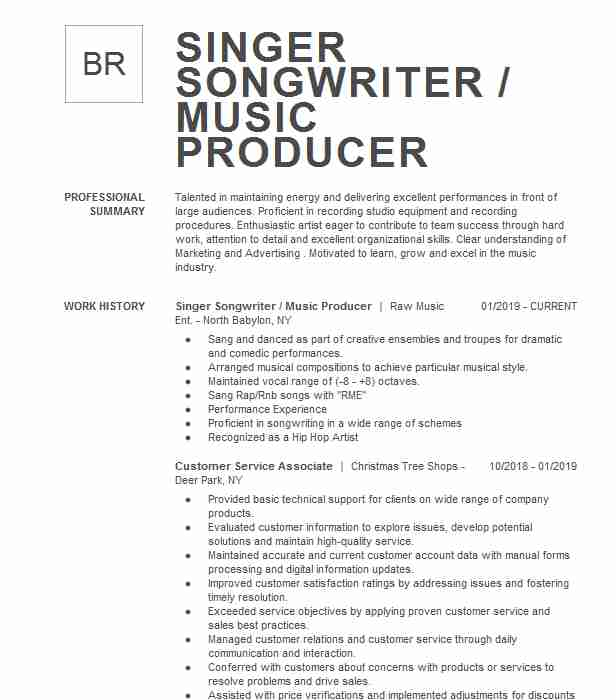 singer songwriter resume example independent music producer buzzwords turn your linkedin Resume Independent Music Producer Resume