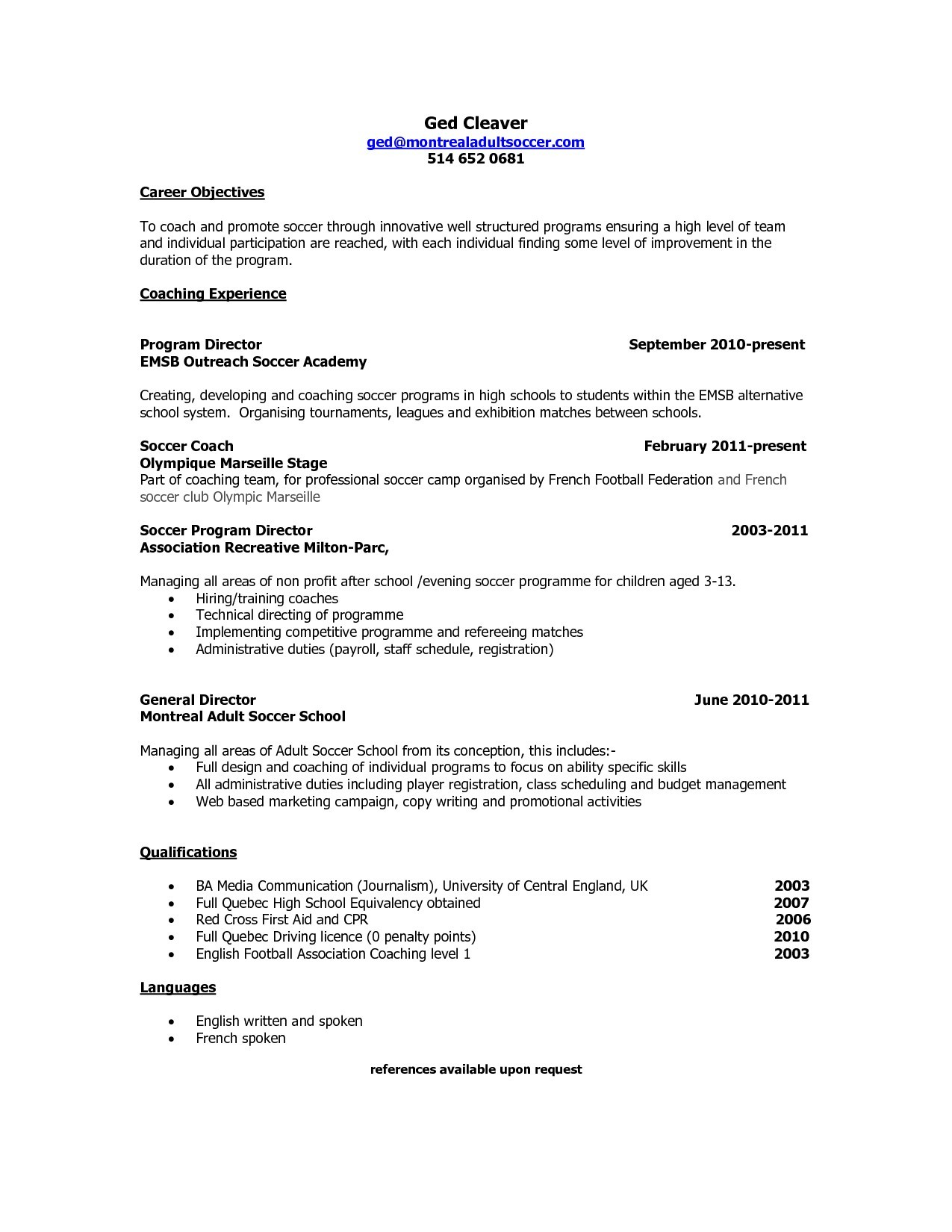 soccer coach resume mt home arts coaching template sample quebec new best templates Resume Coaching Resume Template