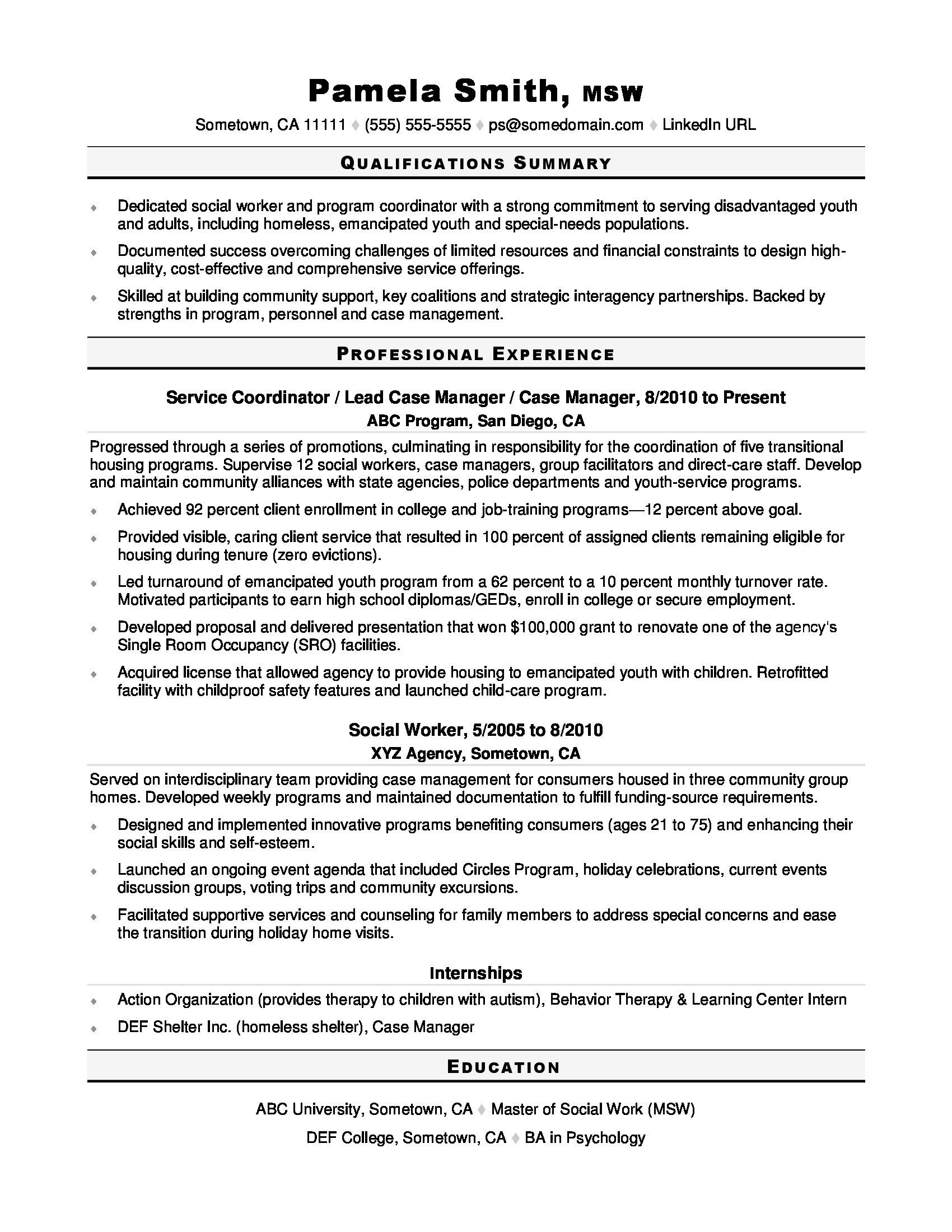 social worker resume sample monster community support template experience with software Resume Community Support Worker Resume Template