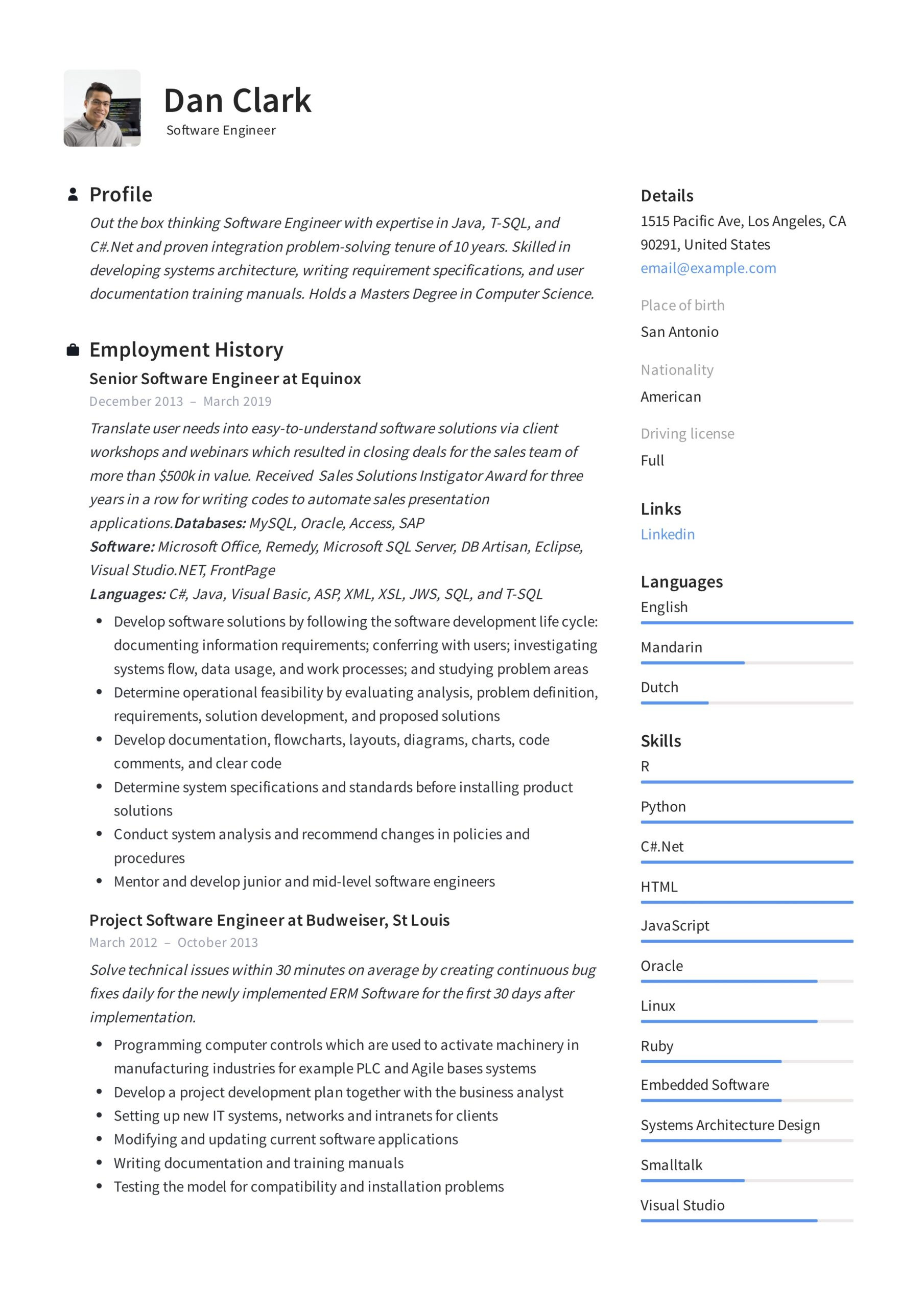 software engineer resume writing guide samples pdf section dan math teacher objective Resume Resume Software Section