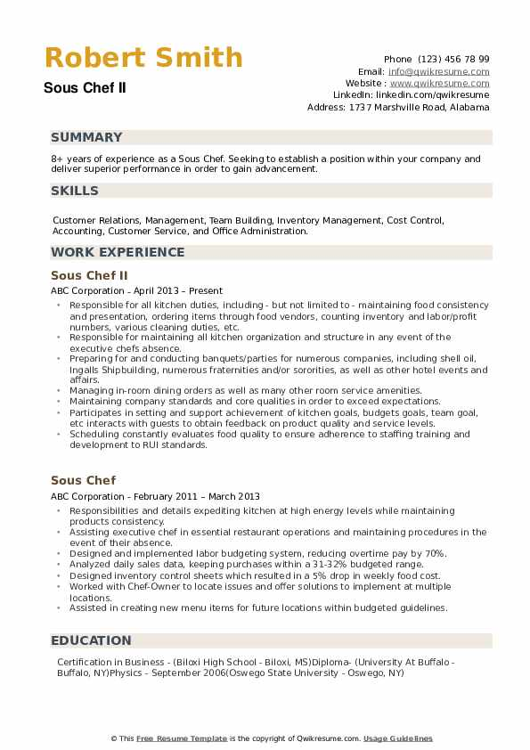 sous chef resume samples qwikresume objective pdf landscaping job skills and competencies Resume Sous Chef Resume Objective