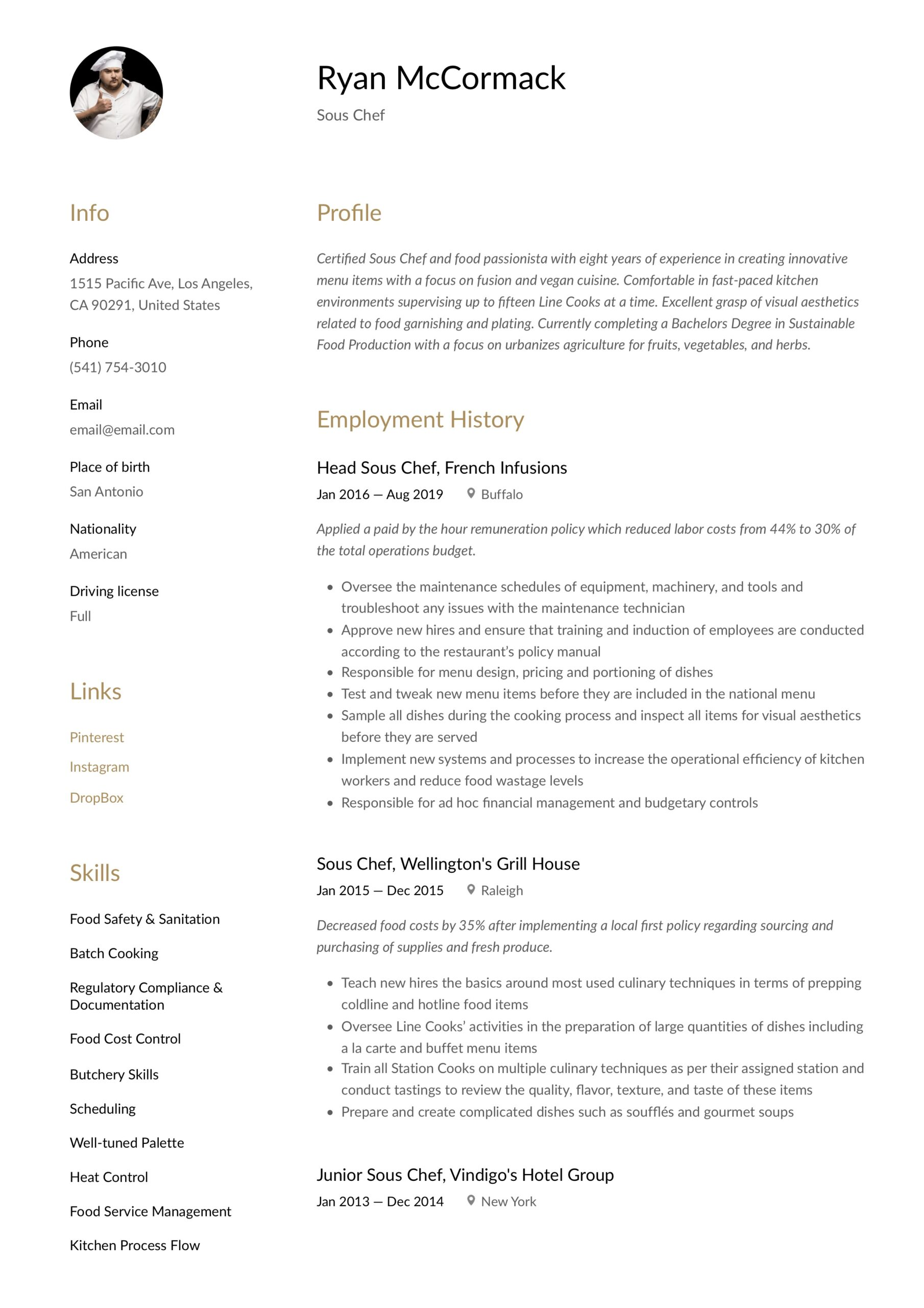 sous chef resume writing guide examples objective other section hardware technician Resume Sous Chef Resume Objective