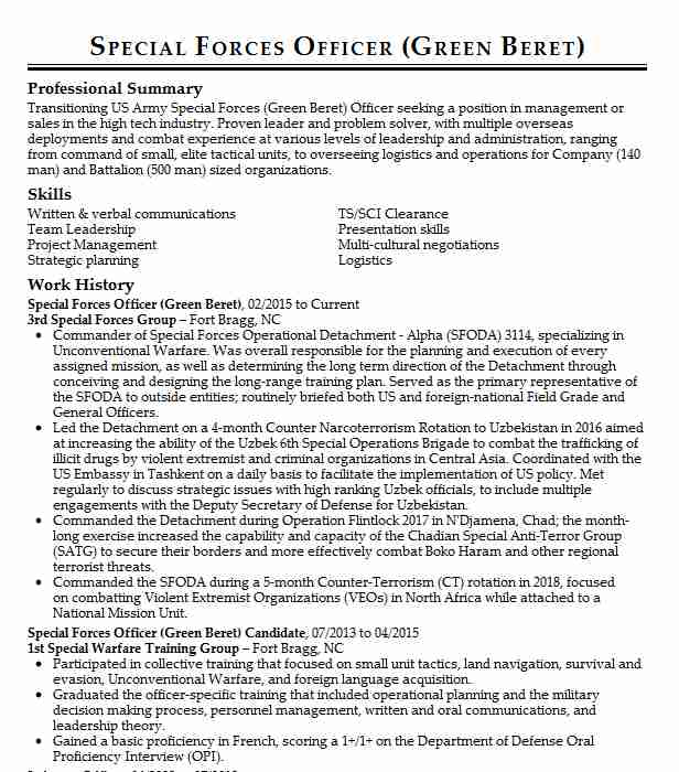 special forces officer resume example army west linux system administrator interactive Resume Special Forces Officer Resume