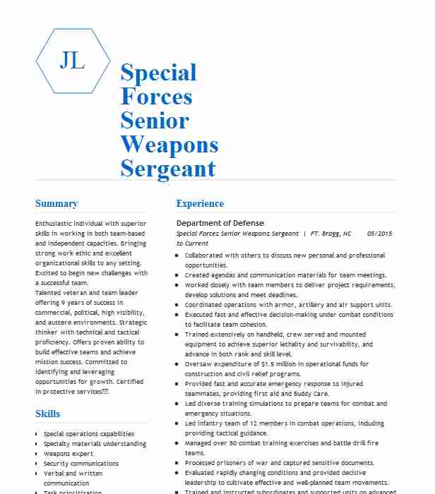 special forces senior sergeant resume example us army carthage north carolina officer Resume Special Forces Officer Resume