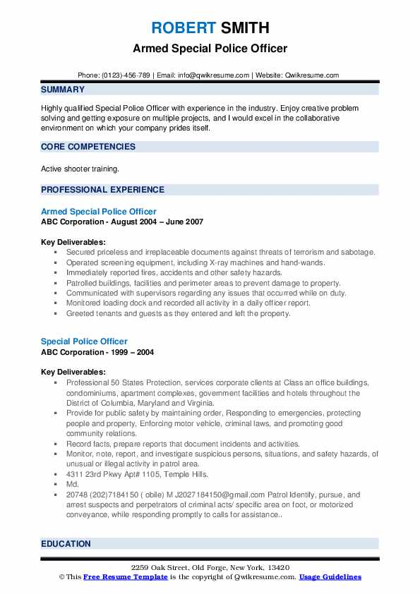 special police officer resume samples qwikresume forces pdf cashier experience applying Resume Special Forces Officer Resume