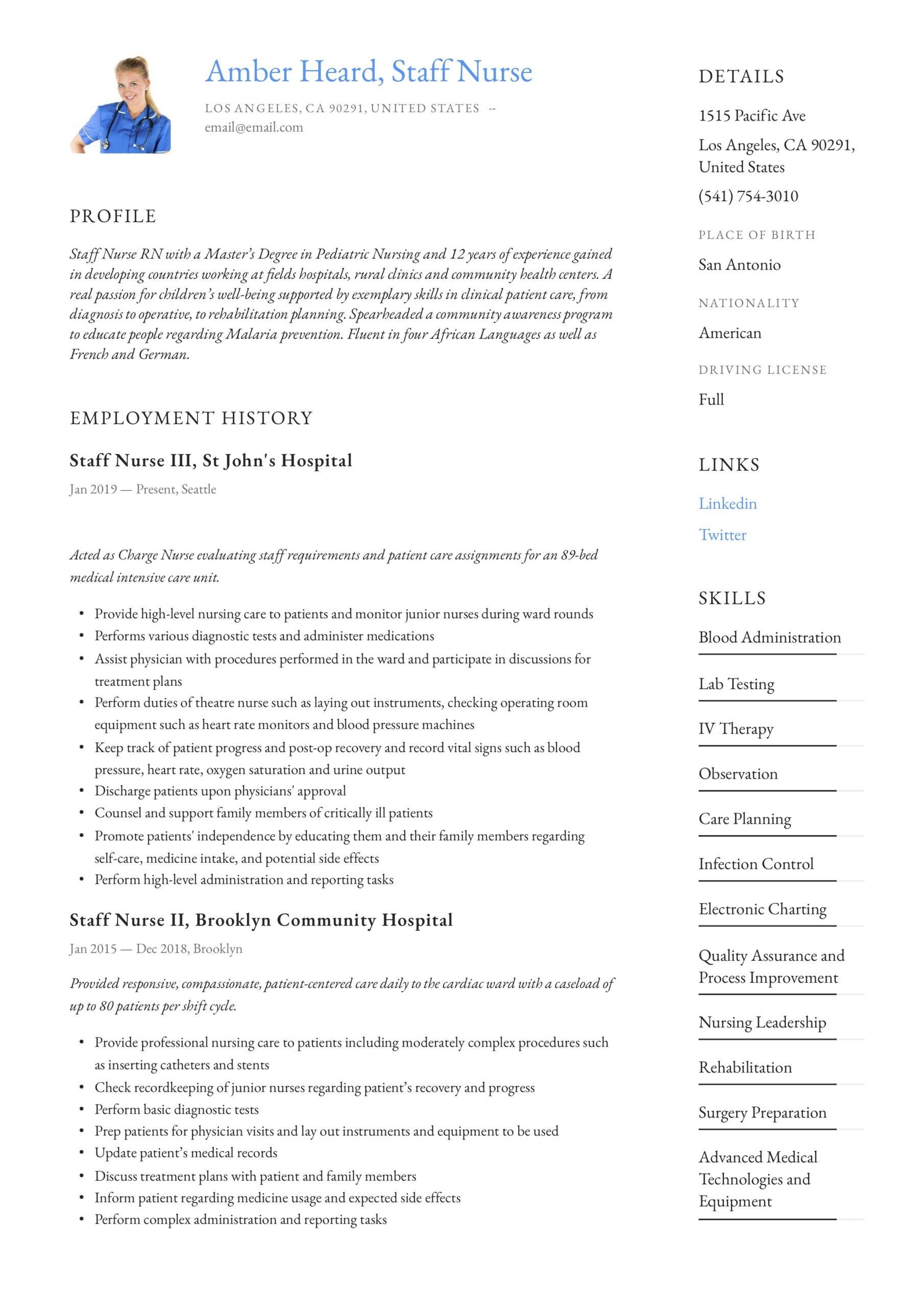 staff nurse resume writing guide templates in pdf nursing examples general manager format Resume Nursing Resume Examples 2020