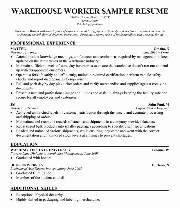 stocker job description resume unique warehouse worker sample panion simply great ideas Resume Examples Of Resume Objectives For Warehouse Workers