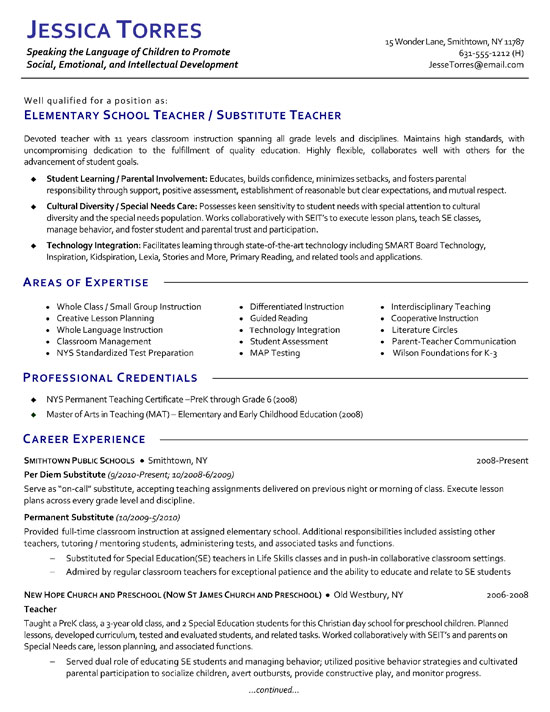 substitute teacher resume example examples extea12a information technology summary Resume Substitute Teacher Resume Examples