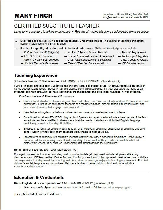 substitute teacher resume sample monster transition out of teaching examples executive Resume Transition Out Of Teaching Resume Examples