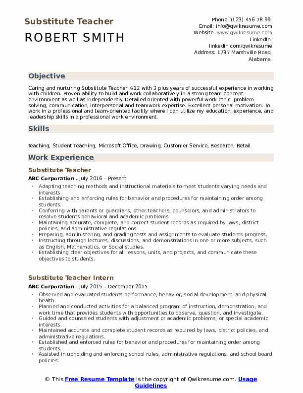 substitute teacher resume samples qwikresume examples pdf creative template free word Resume Substitute Teacher Resume Examples