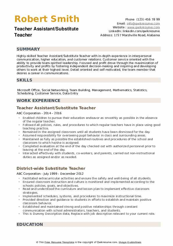 substitute teacher resume samples qwikresume examples pdf information technology summary Resume Substitute Teacher Resume Examples