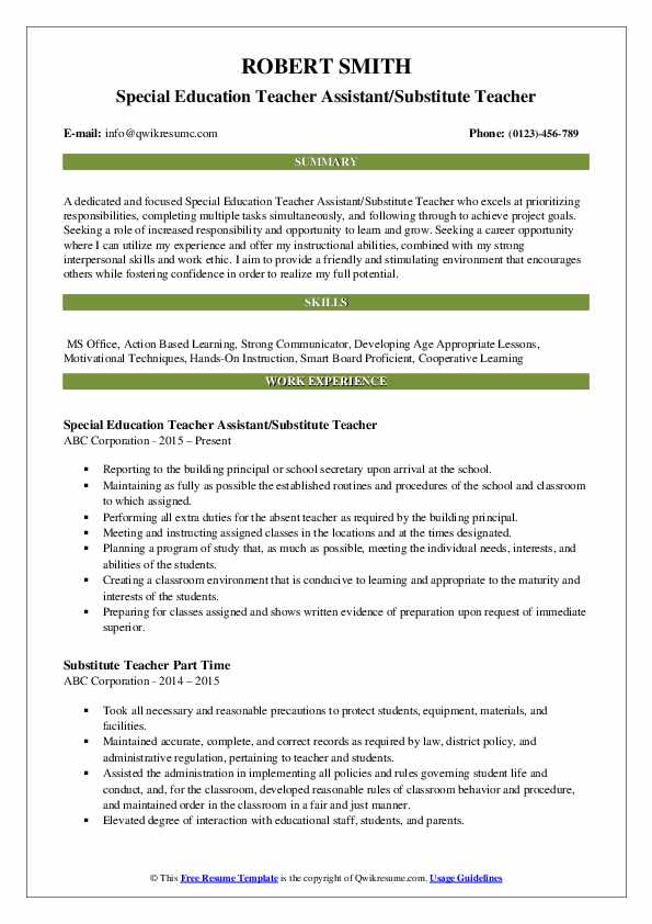 substitute teacher resume samples qwikresume on pdf abercrombie and fitch construction Resume Substitute Teacher On A Resume