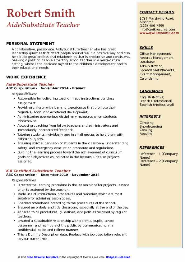 substitute teacher resume samples qwikresume on pdf excellent career objective for Resume Substitute Teacher On A Resume