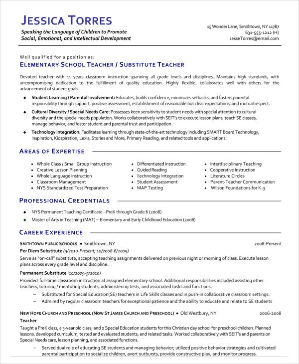 substitute teacher resume templates pdf free premium on elementary copy of meaning Resume Substitute Teacher On A Resume
