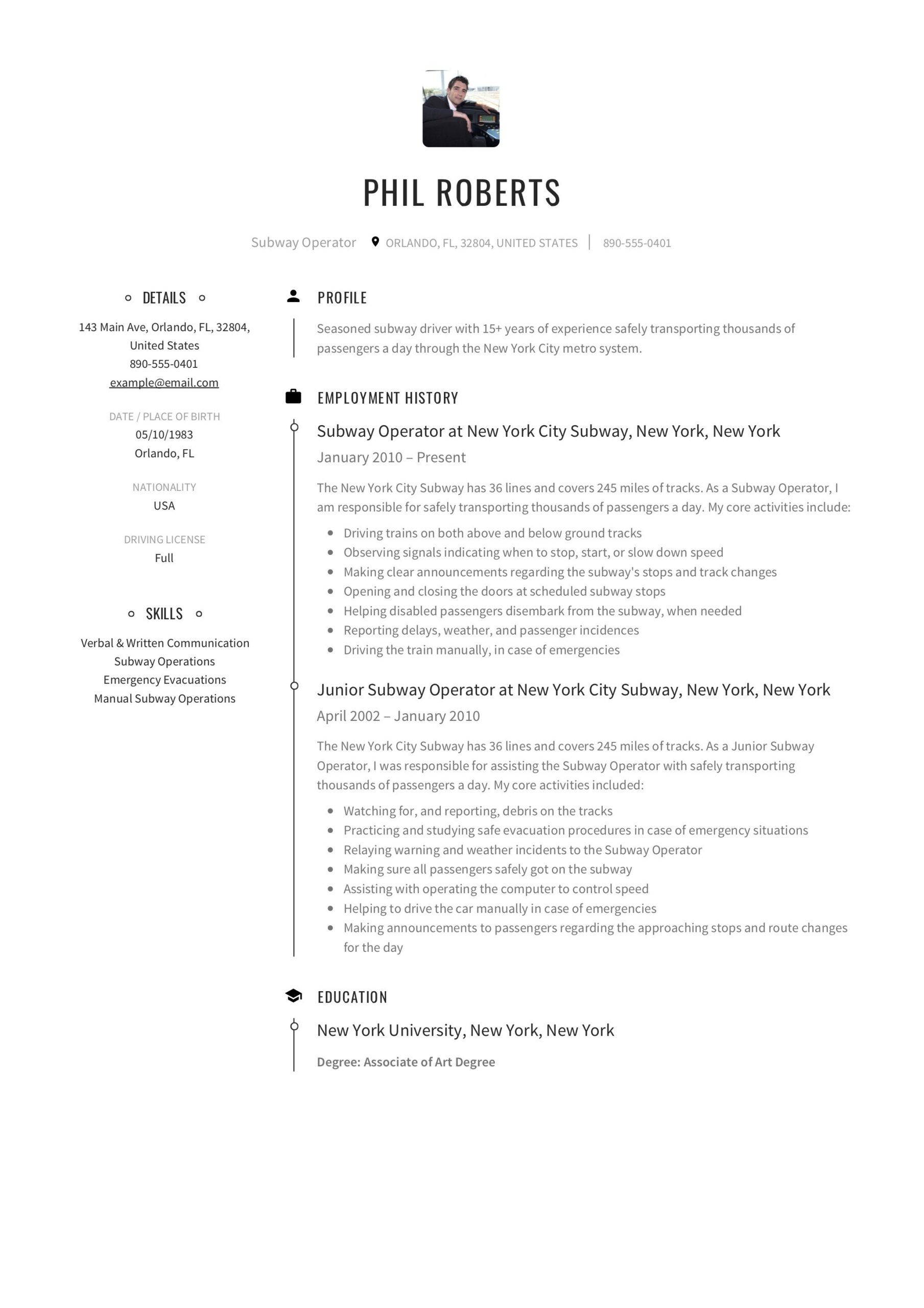 subway operator resume sample in guide templates responsibilities examples interview and Resume Subway Resume Templates