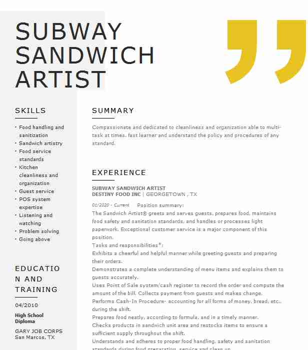 subway sandwich artist resume example templates writing summary create infographic word Resume Subway Resume Templates