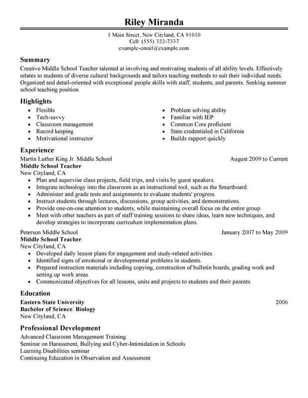 summer teacher resume examples created by pros myperfectresume professional education Resume Teacher Professional Resume Examples