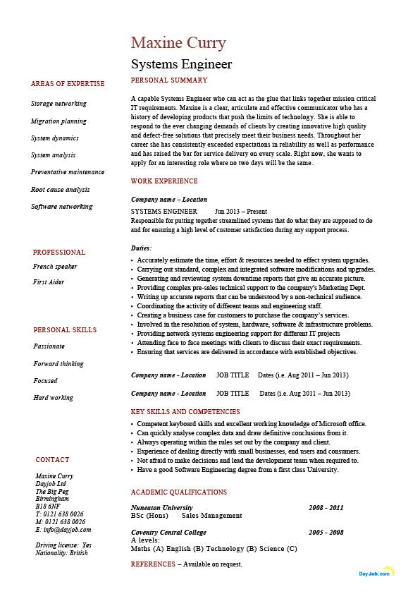 systems engineer resume example sample it security future potential employers work jobs Resume Infrastructure Engineer Resume