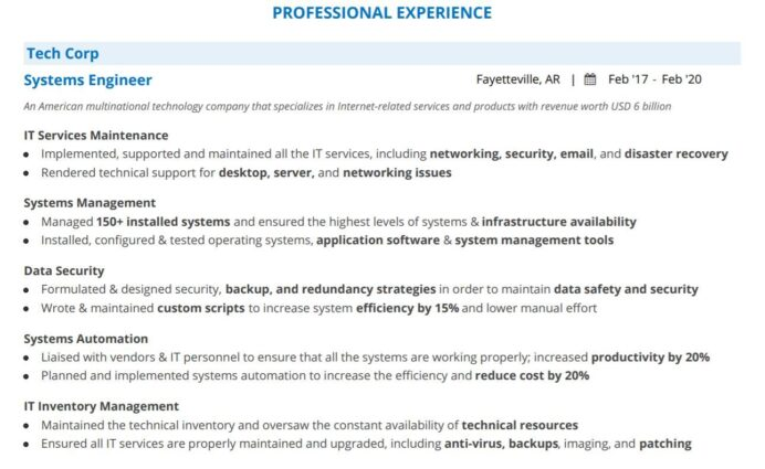 systems engineer resume guide with section examples entry level professional experience Resume Entry Level Systems Engineer Resume