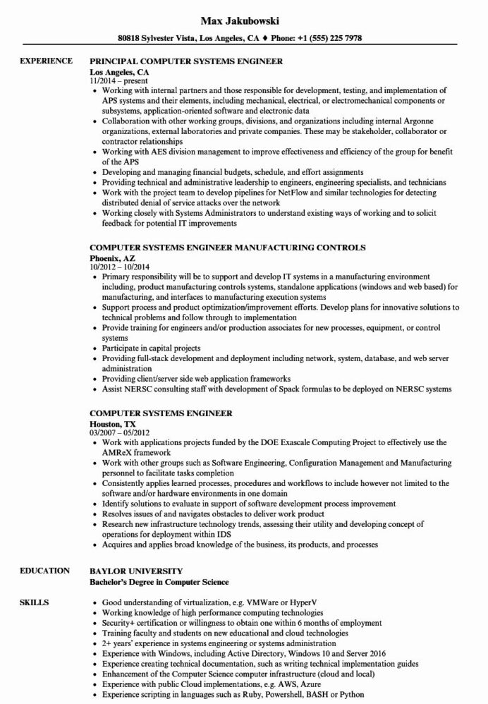 systems engineering resume examples fresh puter engineer samples in objective medical Resume Entry Level Systems Engineer Resume