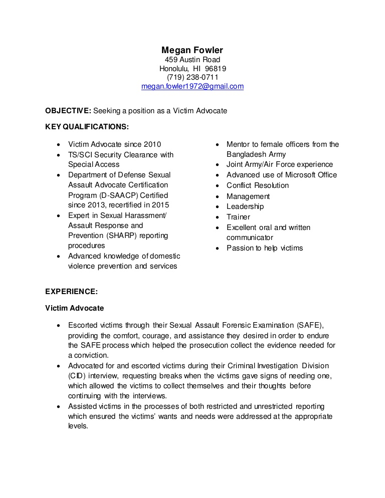 targeted resume victim advocate objective examples thumbnail for school application Resume Targeted Resume Objective Examples