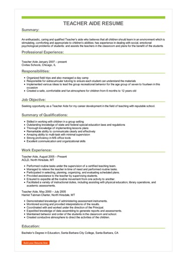 teacher aide resume example template for sample image cyber security analyst sap fico Resume Resume Template For Teacher Aide