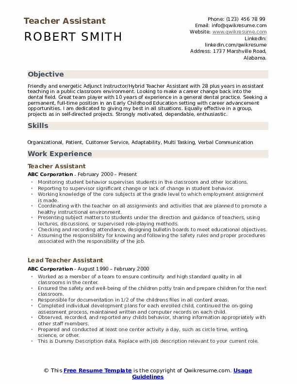 teacher assistant resume samples qwikresume objective for pdf track and field sample Resume Objective For Resume For Teacher Assistant