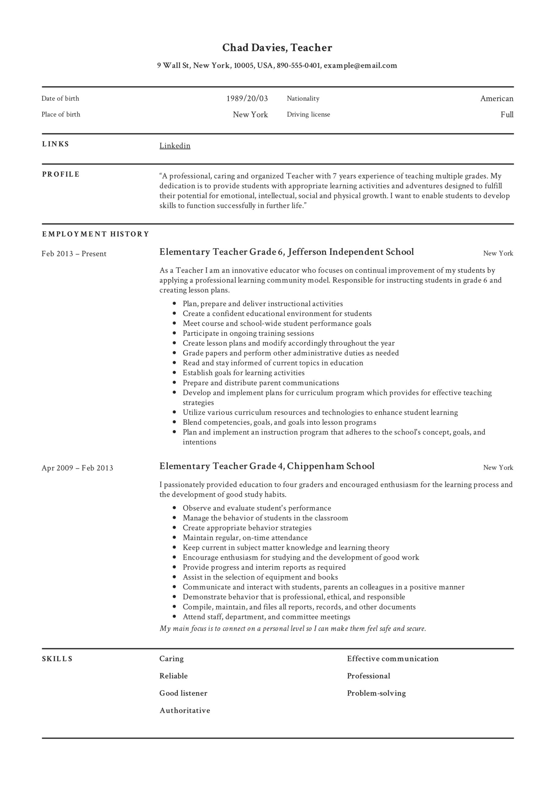 teacher resume writing guide examples pdf for exam elementary sample private duty Resume Resume Writing For Exam