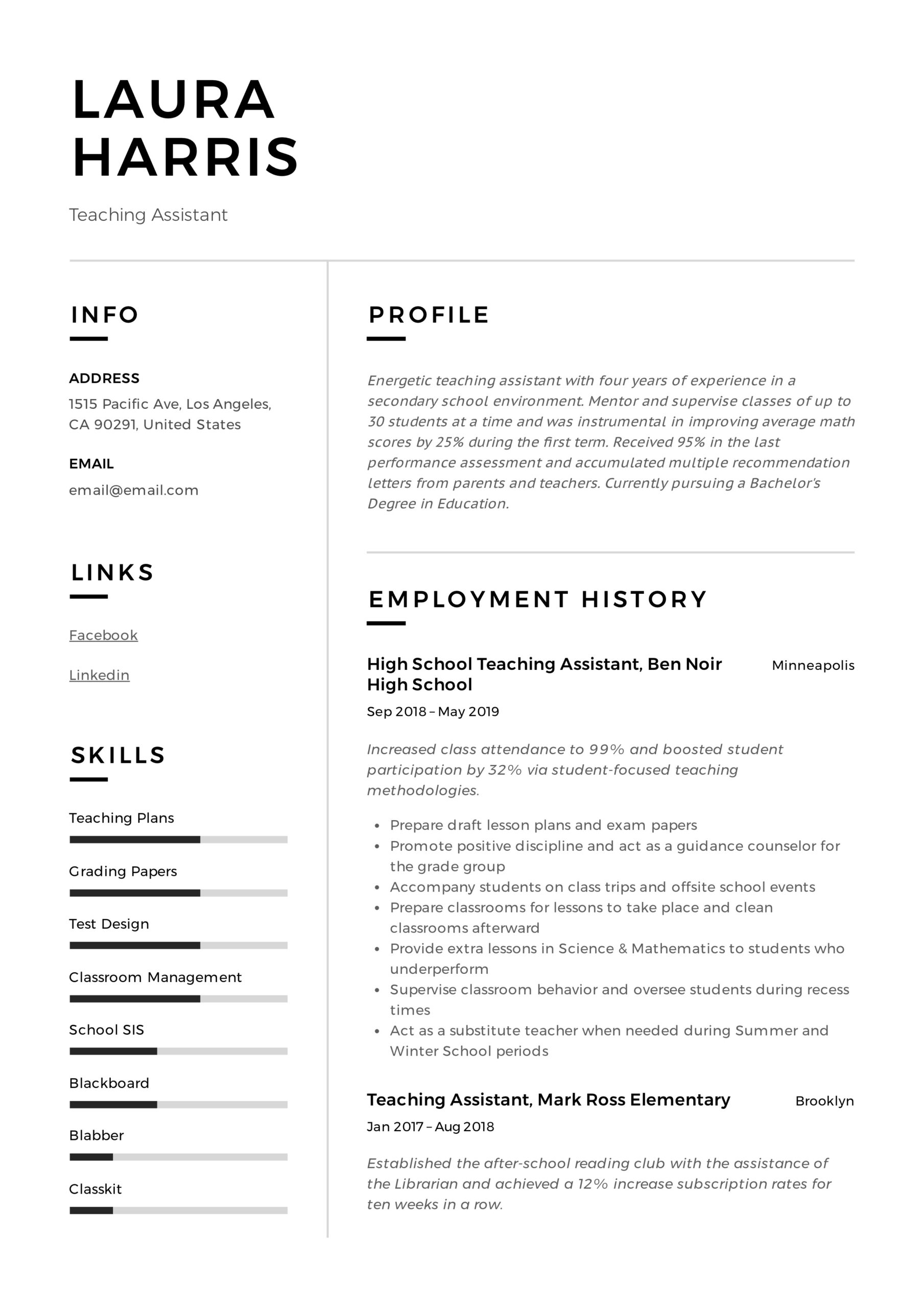 teaching assistant resume writing guide templates pdf paraprofessional skills template Resume Paraprofessional Resume Skills
