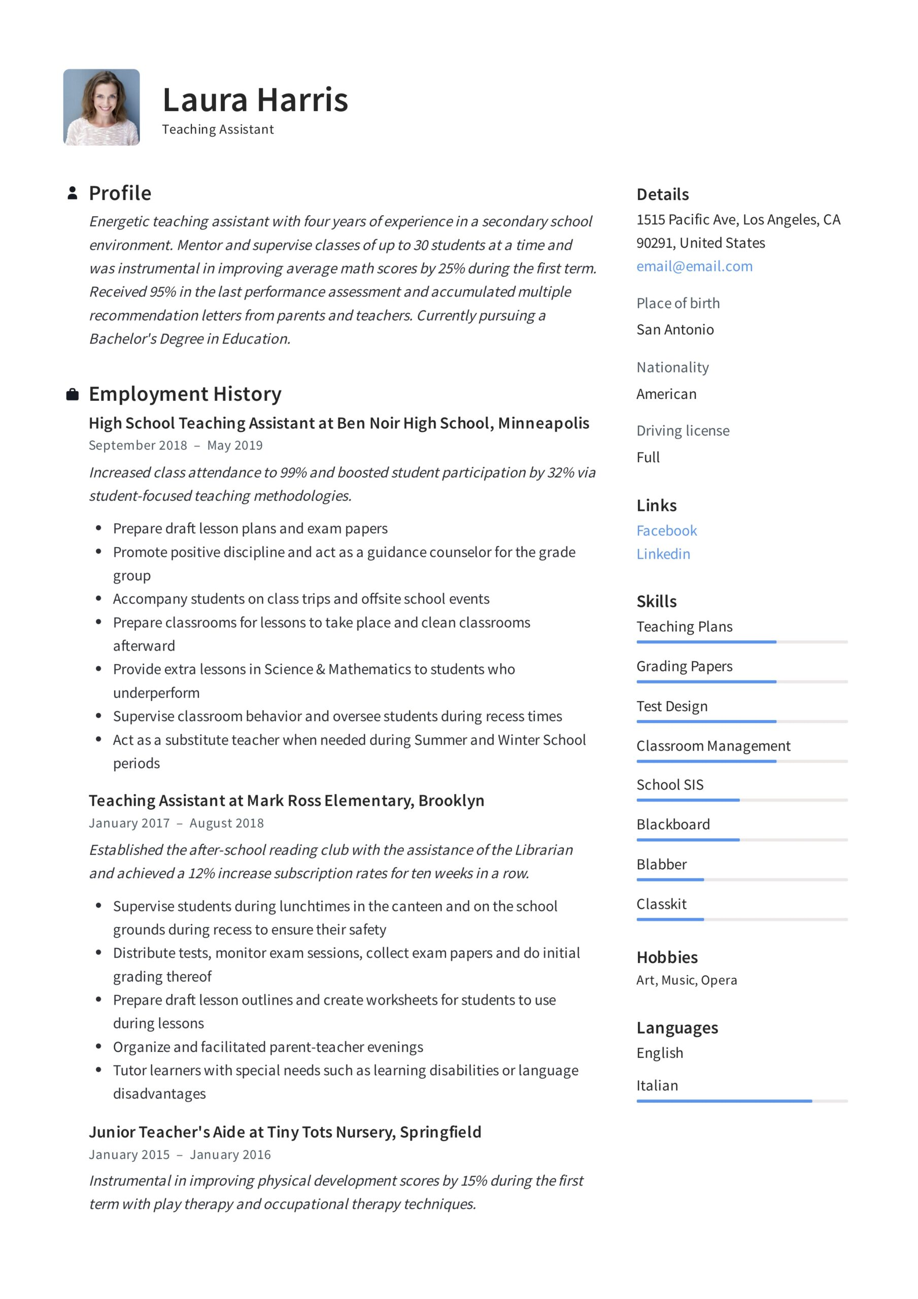 teaching assistant resume writing guide templates pdf template for teacher aide medical Resume Resume Template For Teacher Aide