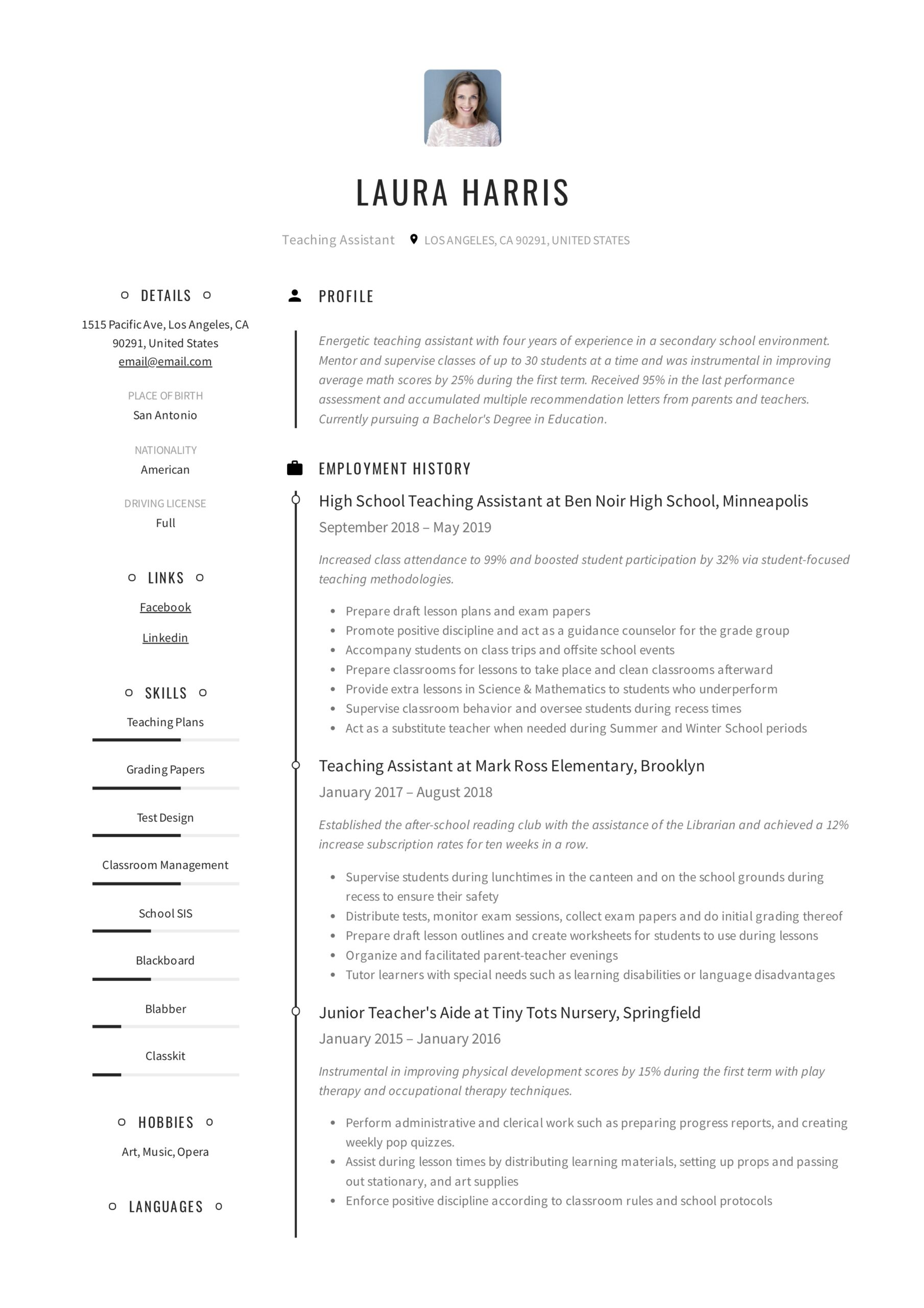 teaching assistant resume writing guide templates pdf template for teacher aide sap basis Resume Resume Template For Teacher Aide
