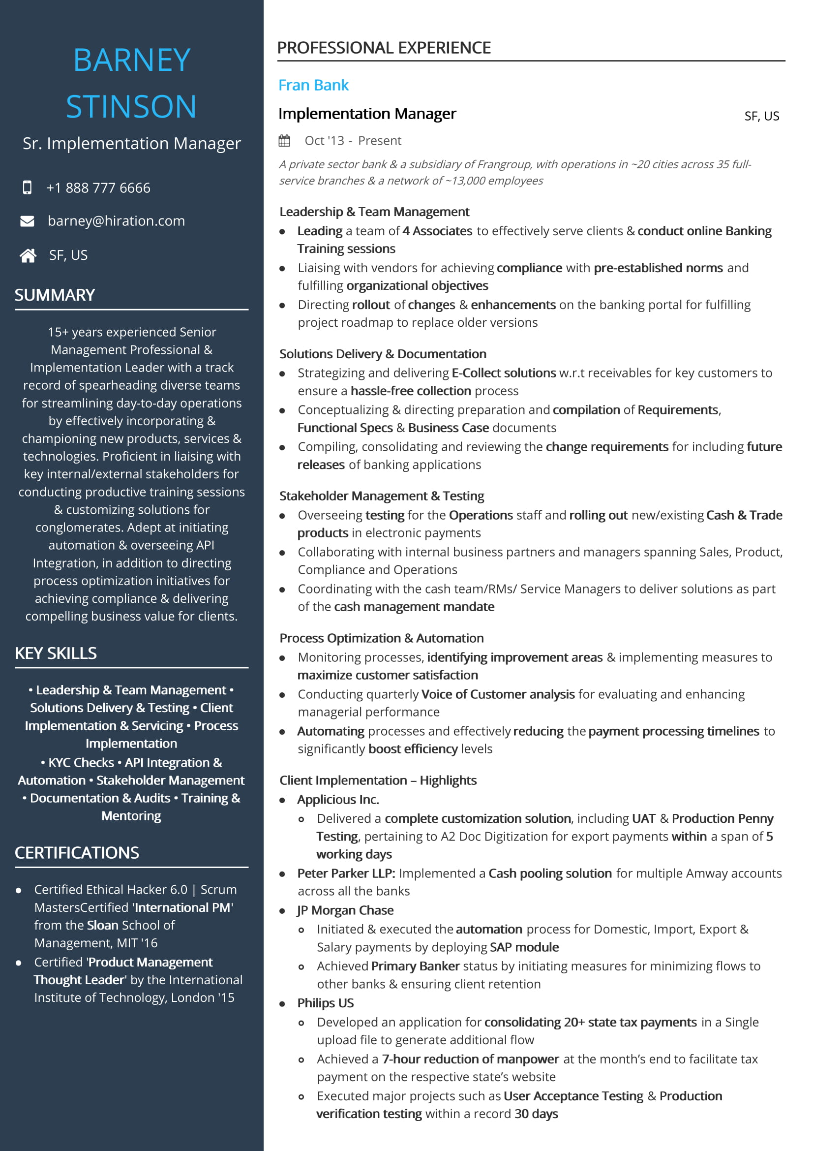 technology resume examples samples for voice process implementation manager sample super Resume Resume For Voice Process