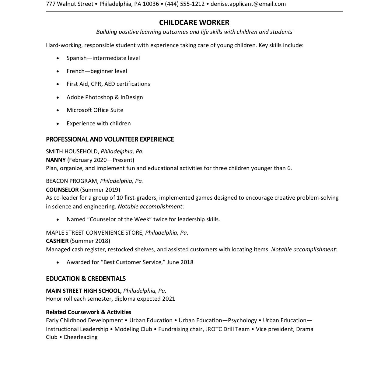 teen resume examples with writing tips for year olds applicant tracking system check tsa Resume Resume Examples For 14 Year Olds