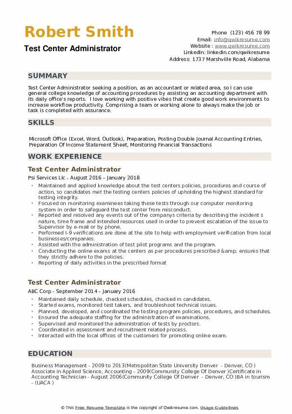test center administrator resume samples qwikresume writing for exam pdf private duty Resume Resume Writing For Exam